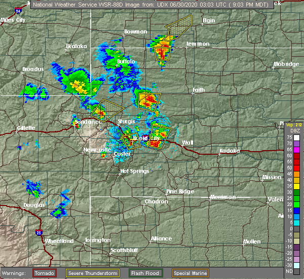 Radar Image for Severe Thunderstorms near Fruitdale, SD at 6/29/2020 9:09 PM MDT