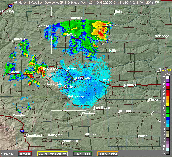 Radar Image for Severe Thunderstorms near Upton, WY at 6/29/2020 10:57 PM MDT