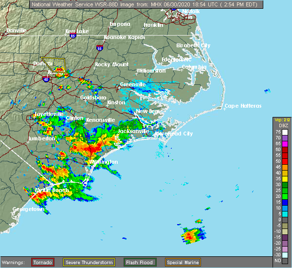 Radar Image for Severe Thunderstorms near Surf City, NC at 6/30/2020 2:57 PM EDT
