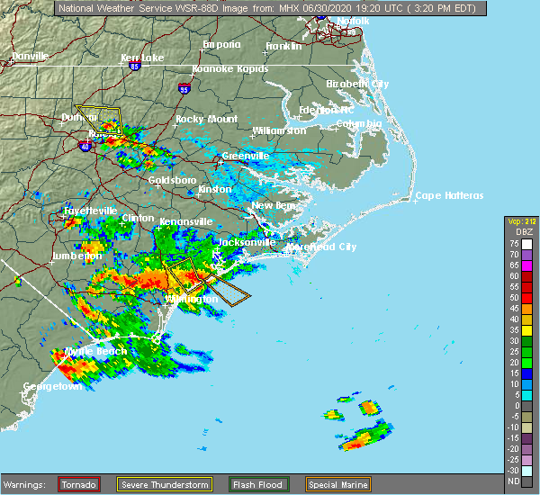 Radar Image for Severe Thunderstorms near Surf City, NC at 6/30/2020 3:22 PM EDT