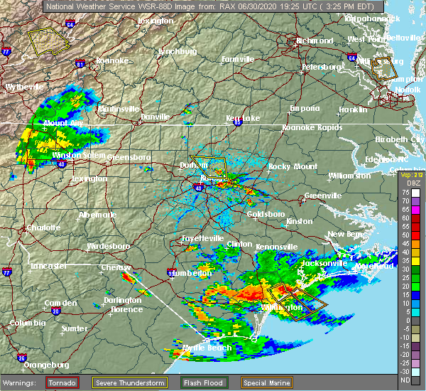 Radar Image for Severe Thunderstorms near Clayton, NC at 6/30/2020 3:32 PM EDT