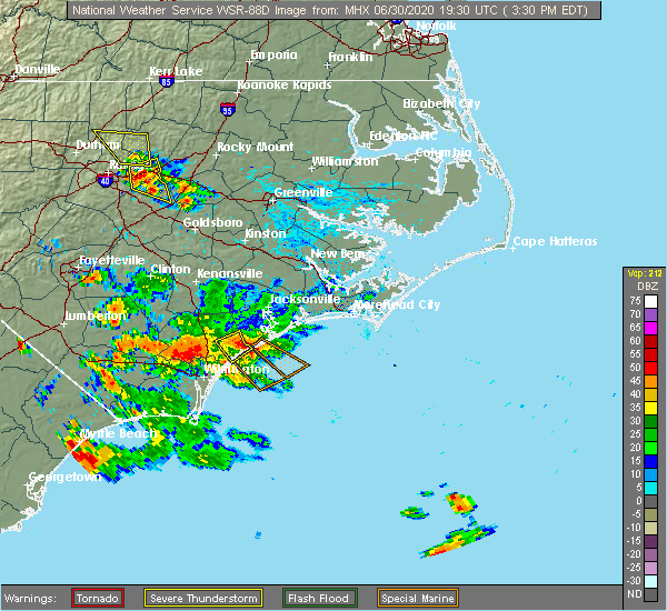 Radar Image for Severe Thunderstorms near Surf City, NC at 6/30/2020 3:38 PM EDT
