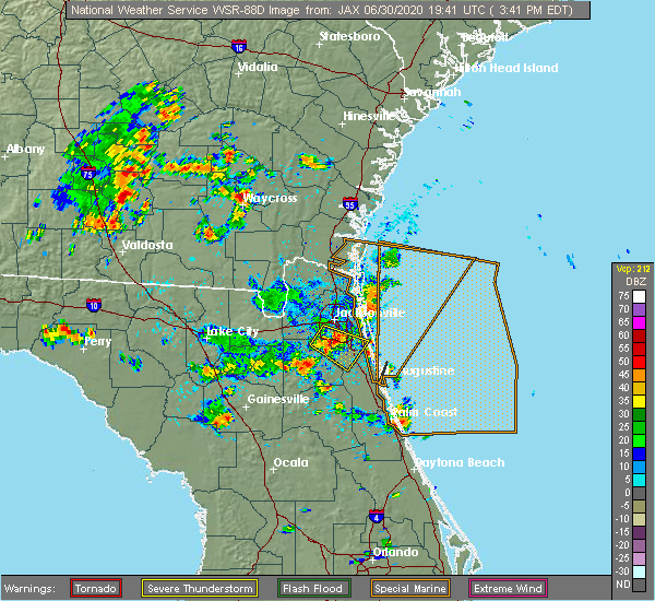 Radar Image for Severe Thunderstorms near Bunnell, FL at 6/30/2020 3:51 PM EDT