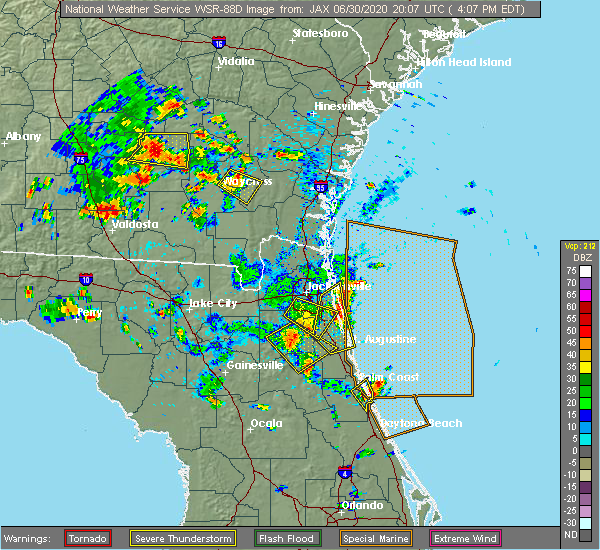 Radar Image for Severe Thunderstorms near Bunnell, FL at 6/30/2020 4:12 PM EDT