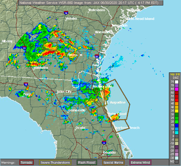 Radar Image for Severe Thunderstorms near World Golf Village, FL at 6/30/2020 4:23 PM EDT