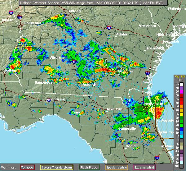 Radar Image for Severe Thunderstorms near Homerville, GA at 6/30/2020 4:38 PM EDT