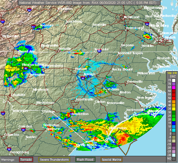 Radar Image for Severe Thunderstorms near Mount Olive, NC at 6/30/2020 5:09 PM EDT