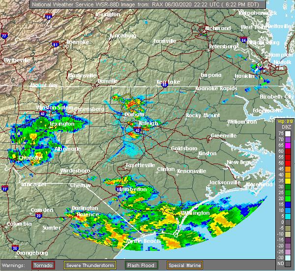 Radar Image for Severe Thunderstorms near Stem, NC at 6/30/2020 6:31 PM EDT