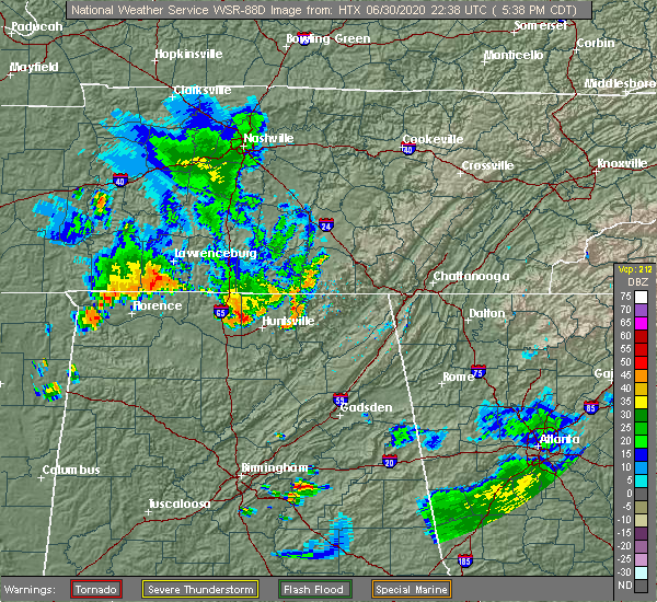 Radar Image for Severe Thunderstorms near Athens, AL at 6/30/2020 5:43 PM CDT