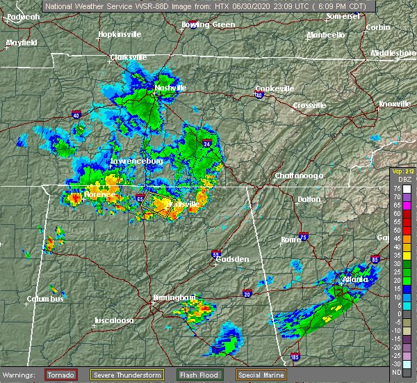 Radar Image for Severe Thunderstorms near Guntersville, AL at 6/30/2020 6:13 PM CDT