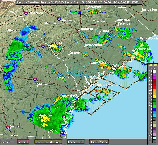 Radar Image for Severe Thunderstorms near Ravenel, SC at 6/30/2020 8:16 PM EDT