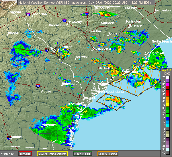Radar Image for Severe Thunderstorms near Ravenel, SC at 6/30/2020 8:35 PM EDT