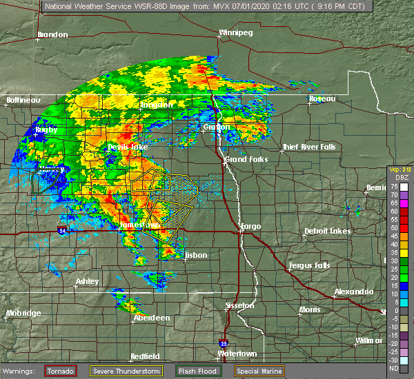 Radar Image for Severe Thunderstorms near Finley, ND at 6/30/2020 9:18 PM CDT