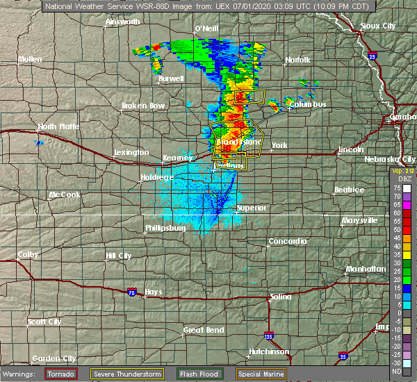 Radar Image for Severe Thunderstorms near Clarks, NE at 6/30/2020 10:13 PM CDT