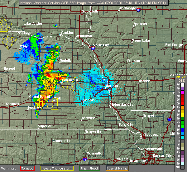Radar Image for Severe Thunderstorms near Silver Creek, NE at 6/30/2020 10:51 PM CDT