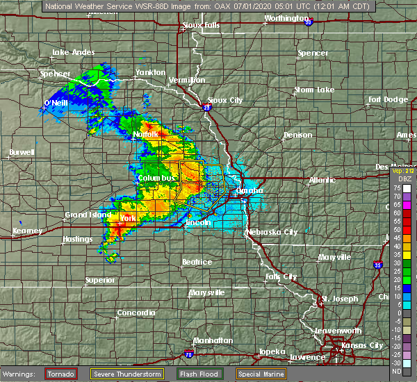 Radar Image for Severe Thunderstorms near Cedar Bluffs, NE at 7/1/2020 12:08 AM CDT