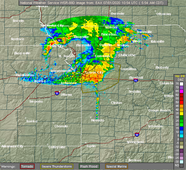 Radar Image for Severe Thunderstorms near Henrietta, MO at 7/1/2020 6:01 AM CDT