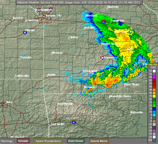 Radar Image for Severe Thunderstorms near Gainesville, MO at 7/1/2020 11:23 AM CDT