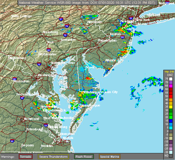 Radar Image for Severe Thunderstorms near Chesapeake Ranch Estates, MD at 7/1/2020 12:32 PM EDT