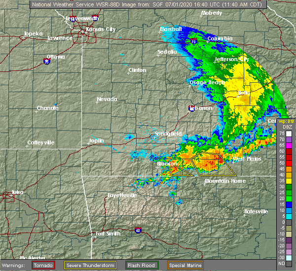 Radar Image for Severe Thunderstorms near Gainesville, MO at 7/1/2020 11:45 AM CDT