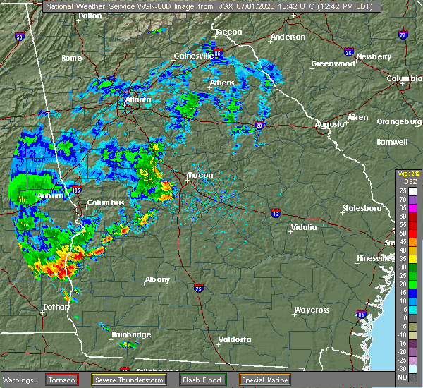 Radar Image for Severe Thunderstorms near Macon, GA at 7/1/2020 12:48 PM EDT
