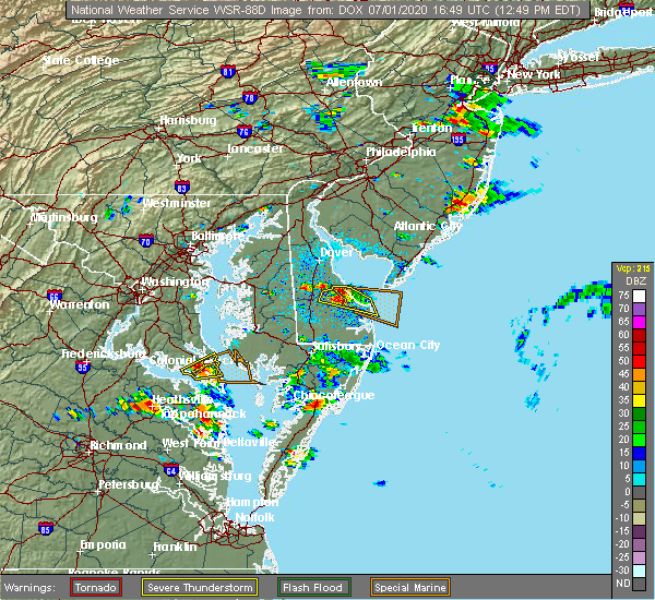 Radar Image for Severe Thunderstorms near Chesapeake Ranch Estates, MD at 7/1/2020 12:53 PM EDT
