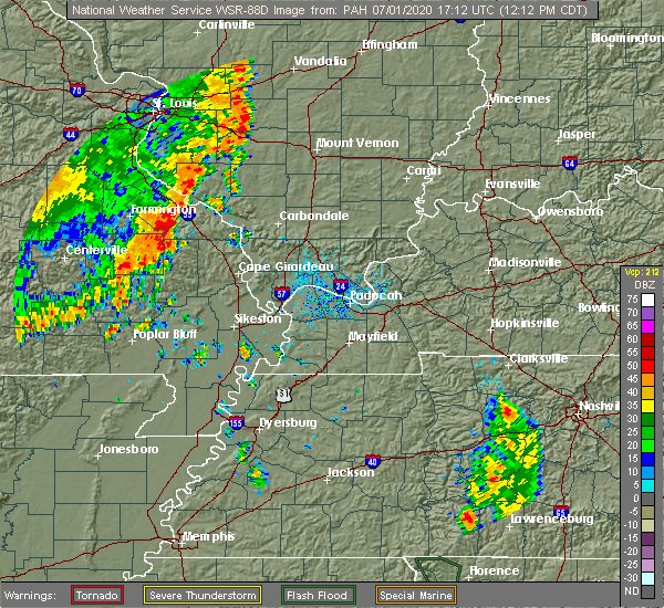 Radar Image for Severe Thunderstorms near Perryville, MO at 7/1/2020 12:18 PM CDT