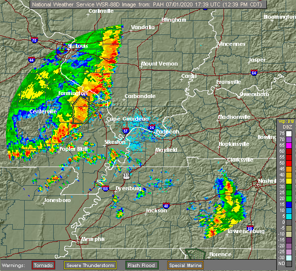 Radar Image for Severe Thunderstorms near Perryville, MO at 7/1/2020 12:46 PM CDT