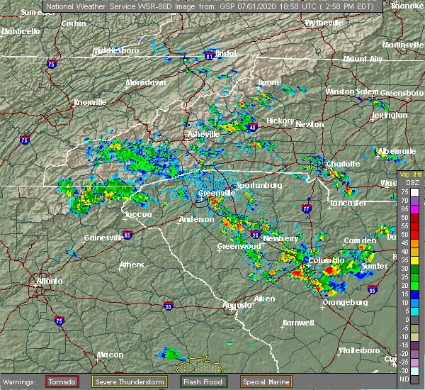 Radar Image for Severe Thunderstorms near Reidville, SC at 7/1/2020 3:04 PM EDT
