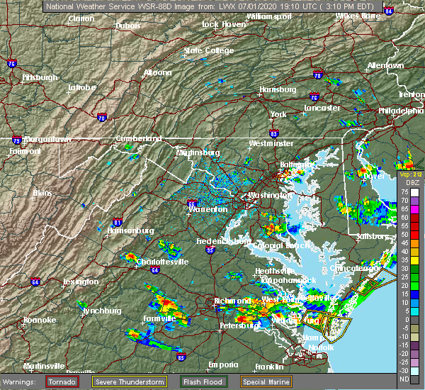 Radar Image for Severe Thunderstorms near Broomes Island, MD at 7/1/2020 3:17 PM EDT