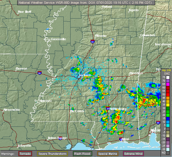 Radar Image for Severe Thunderstorms near Bay Springs, MS at 7/1/2020 2:23 PM CDT