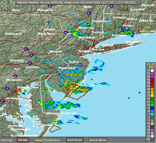 Radar Image for Severe Thunderstorms near Sea Isle City, NJ at 7/1/2020 3:23 PM EDT