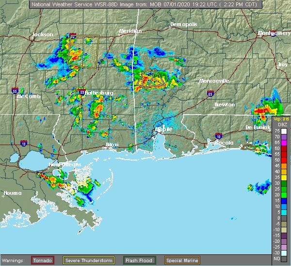 Radar Image for Severe Thunderstorms near Chatom, AL at 7/1/2020 2:29 PM CDT