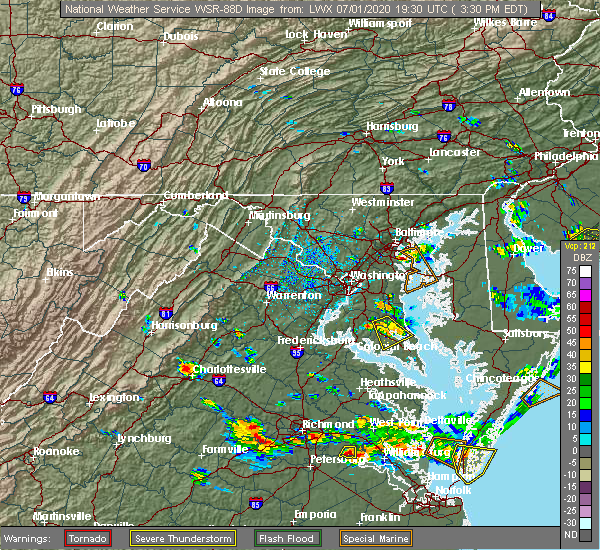 Radar Image for Severe Thunderstorms near Lake Shore, MD at 7/1/2020 3:33 PM EDT