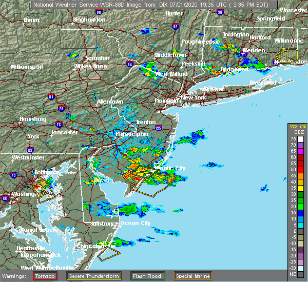 Radar Image for Severe Thunderstorms near Sea Isle City, NJ at 7/1/2020 3:42 PM EDT