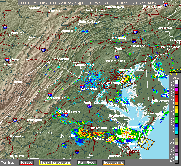 Radar Image for Severe Thunderstorms near Crownsville, MD at 7/1/2020 3:56 PM EDT