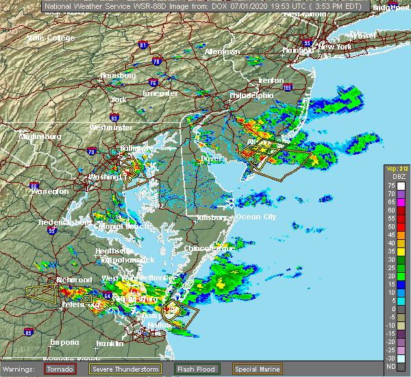 Radar Image for Severe Thunderstorms near Crownsville, MD at 7/1/2020 3:59 PM EDT