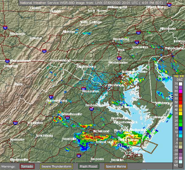 Radar Image for Severe Thunderstorms near Pantops, VA at 7/1/2020 4:05 PM EDT