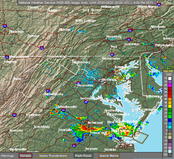 Radar Image for Severe Thunderstorms near Crownsville, MD at 7/1/2020 4:08 PM EDT