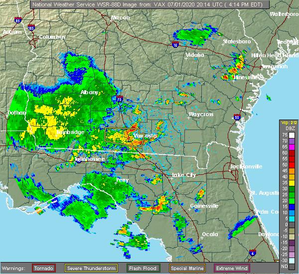 Radar Image for Severe Thunderstorms near Lake Park, GA at 7/1/2020 4:19 PM EDT