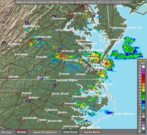 Radar Image for Severe Thunderstorms near Colonial Heights, VA at 7/1/2020 4:21 PM EDT