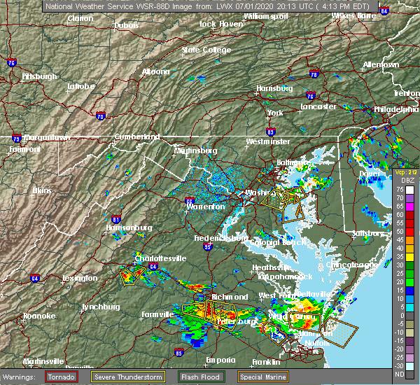 Radar Image for Severe Thunderstorms near Esmont, VA at 7/1/2020 4:25 PM EDT