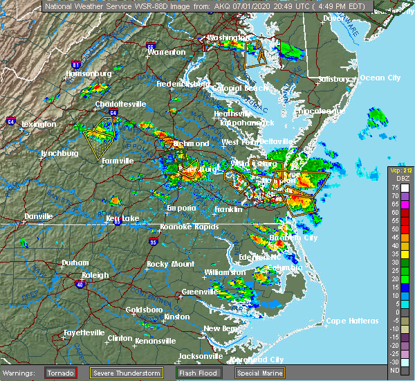 Radar Image for Severe Thunderstorms near Smithfield, VA at 7/1/2020 4:56 PM EDT