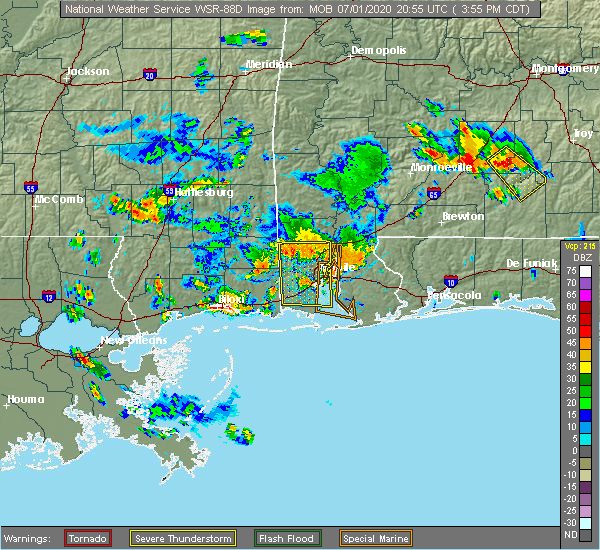 Radar Image for Severe Thunderstorms near Spanish Fort, AL at 7/1/2020 4:04 PM CDT