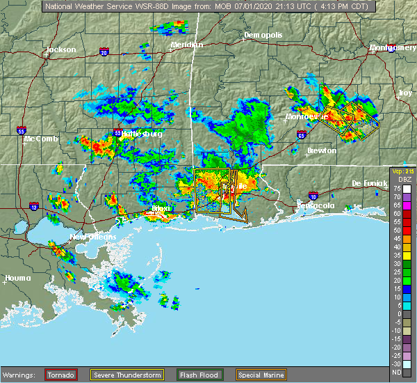 Radar Image for Severe Thunderstorms near Spanish Fort, AL at 7/1/2020 4:20 PM CDT