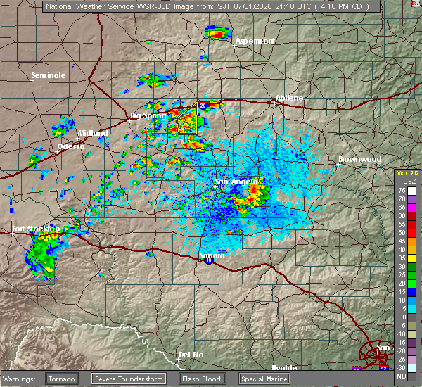 Radar Image for Severe Thunderstorms near Loraine, TX at 7/1/2020 4:25 PM CDT