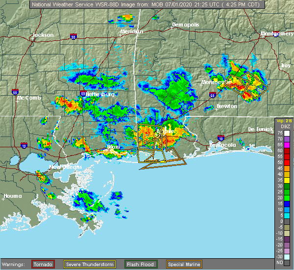 Radar Image for Severe Thunderstorms near Spanish Fort, AL at 7/1/2020 4:30 PM CDT
