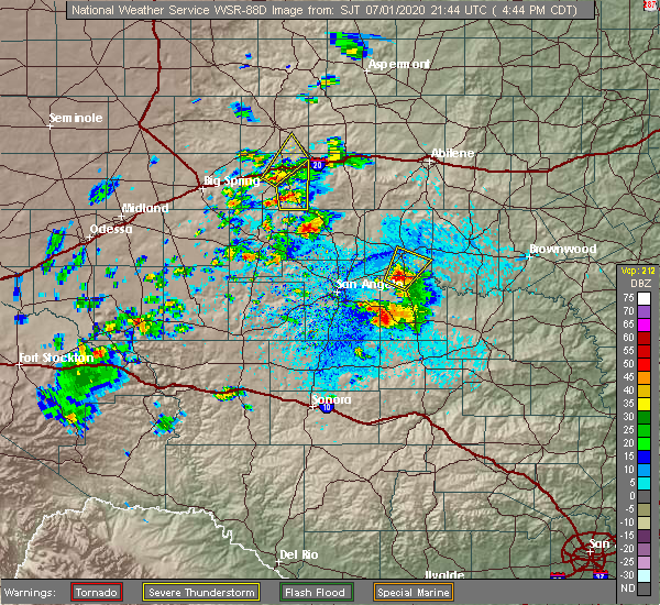 Radar Image for Severe Thunderstorms near Loraine, TX at 7/1/2020 4:49 PM CDT