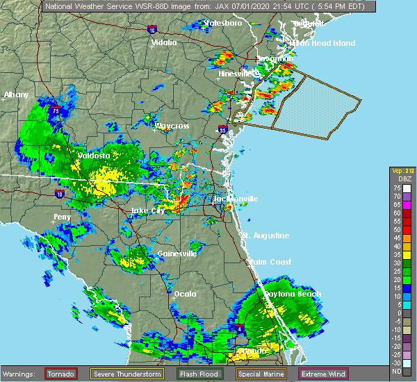 Radar Image for Severe Thunderstorms near Yulee, FL at 7/1/2020 5:59 PM EDT