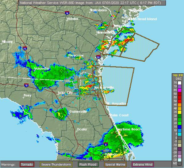 Radar Image for Severe Thunderstorms near Jacksonville, FL at 7/1/2020 6:22 PM EDT